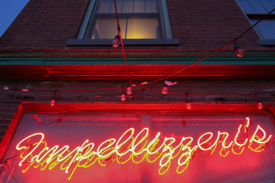 The neon sign at Impellizzeri's Pizza in Louisville, Kentucky