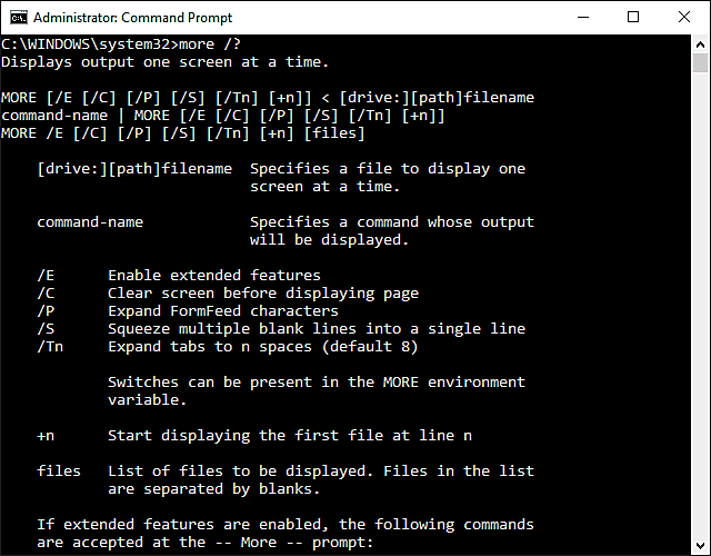 Screenshot of the more command in Windows 10