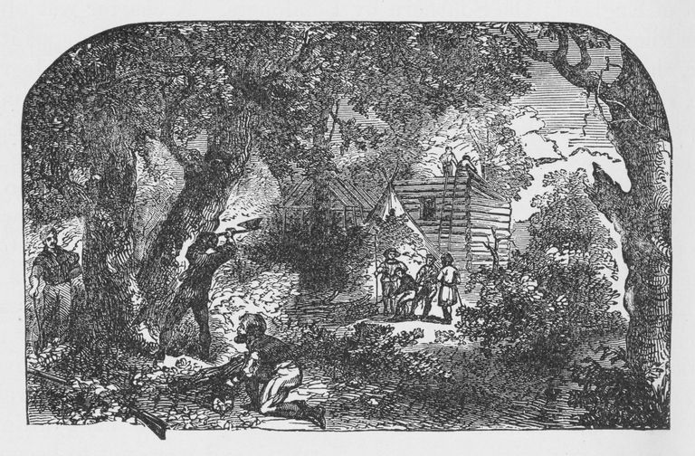 19th century illustration of settlers building James town