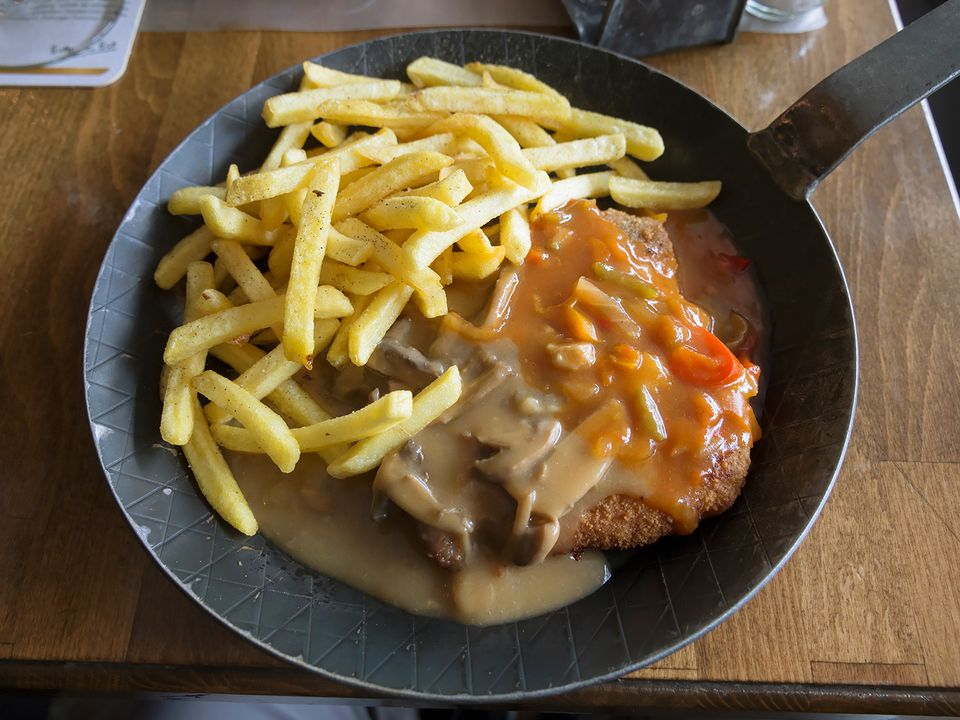 Schnitzel with two sauces