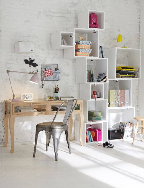 Home office with designer shelving