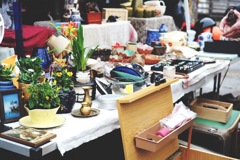 tables full of garage sale merchandise