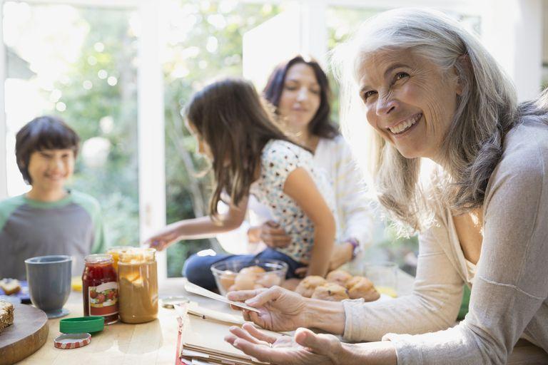 Multi-generation family in kitchen