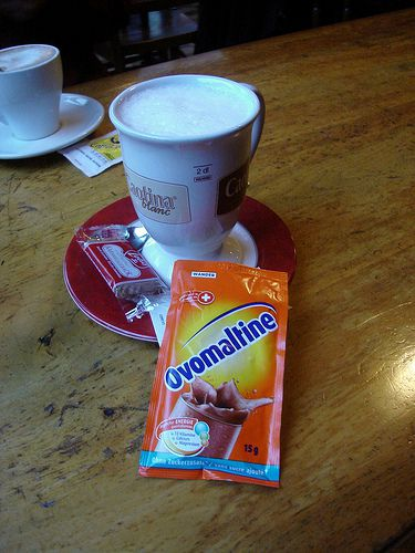 Ovomaltine Sachet for Mixing in a Cafe