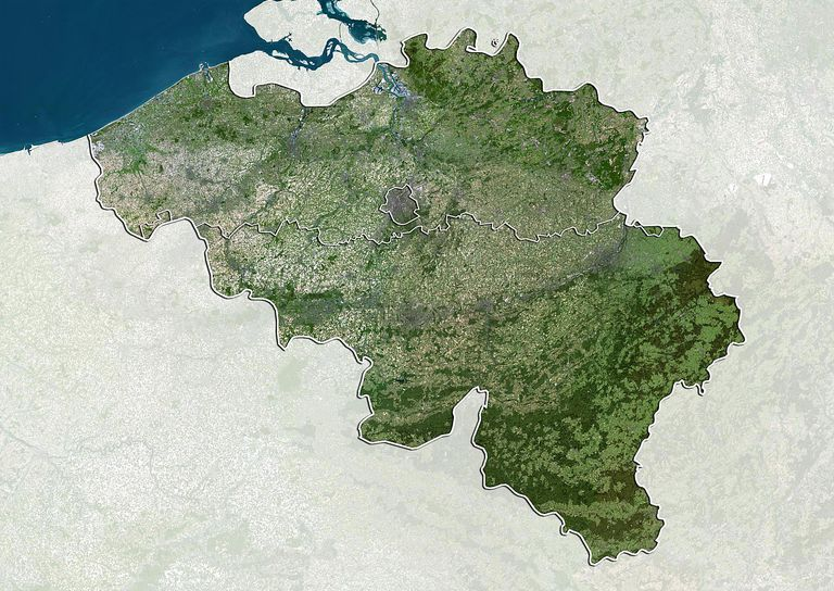 Belgium, True Colour Satellite Image With Boundaries of Regions