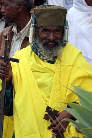 Priest in yellow, Ethiopia