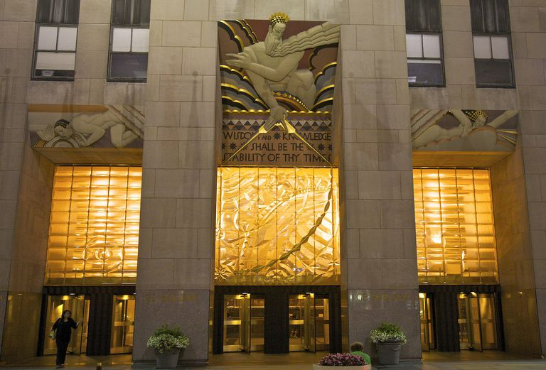 Raymond Hood-designed 30 Rockefeller Plaza in NYC with Lee Lawrie's mural above the entrance