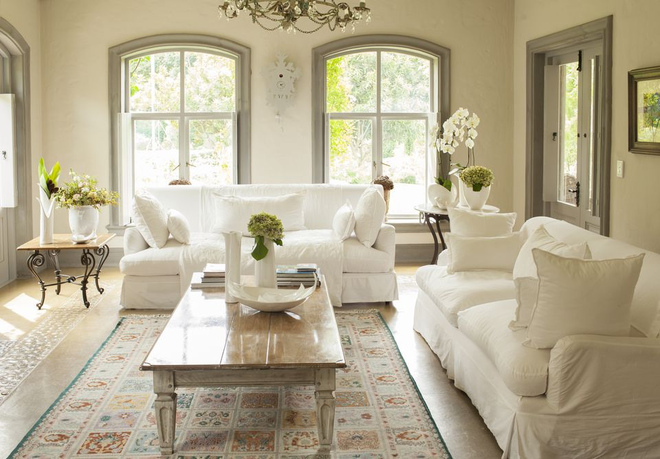 Living room decorated in neutral colors