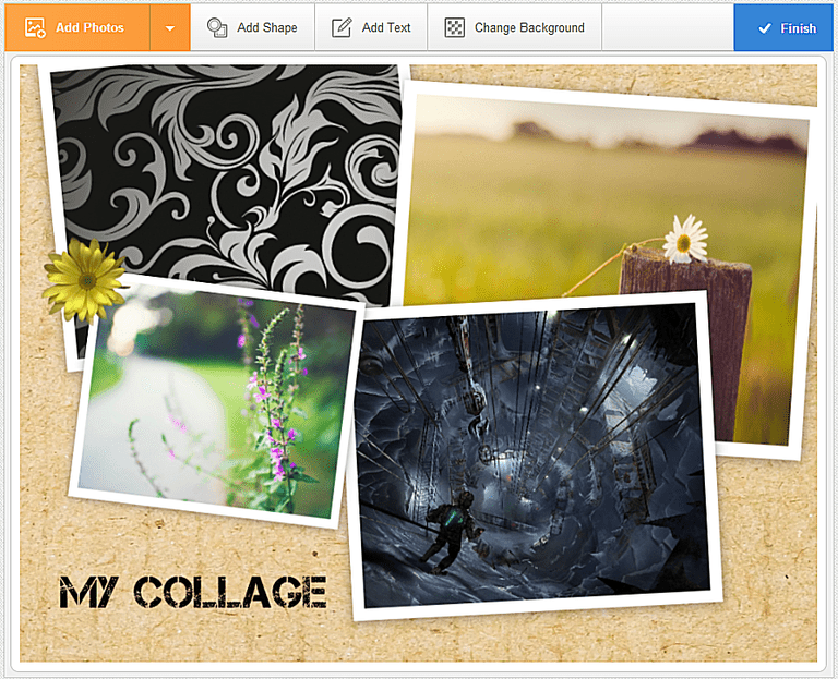 Screenshot of a photo collage using Photovisi