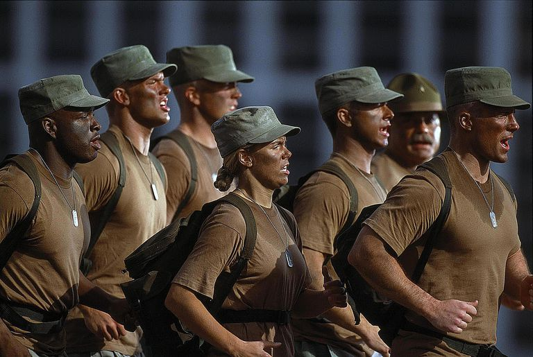 Military instructor and troops