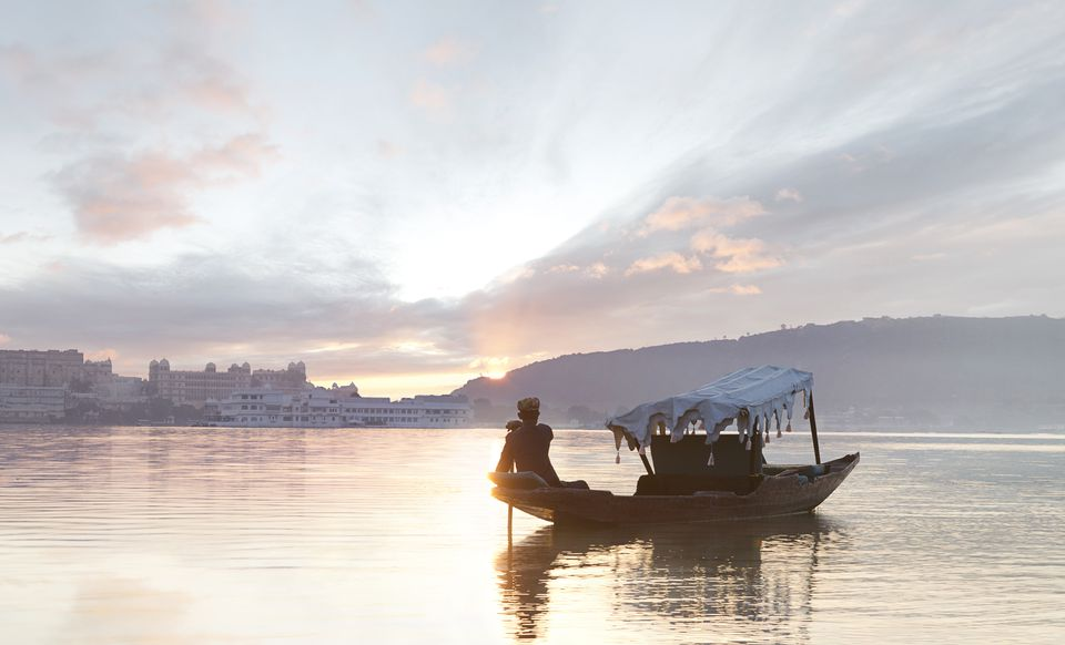 Traditional Indian boat on Lake Pichola.