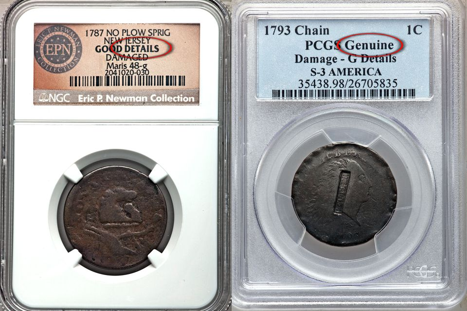 NGC Details and PCGS Genuine Coin Holder