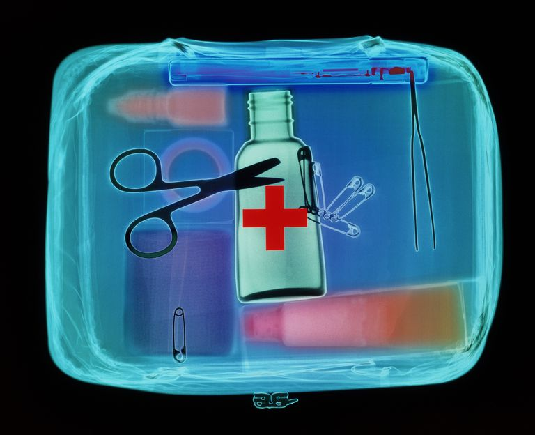 Blue first aid bag with medical supplies