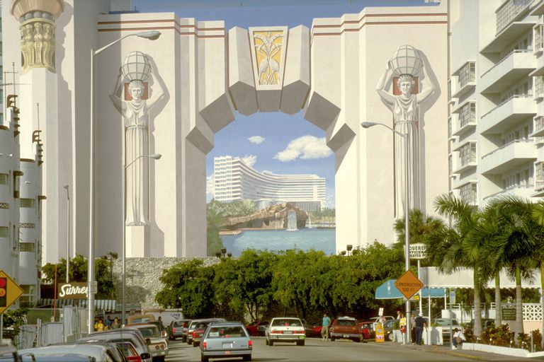 Trompe l'oeil mural of an Egyptian archway on building in Miami, Florida