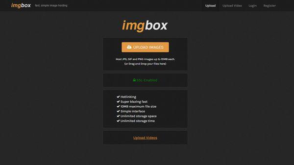 The imgbox homepage