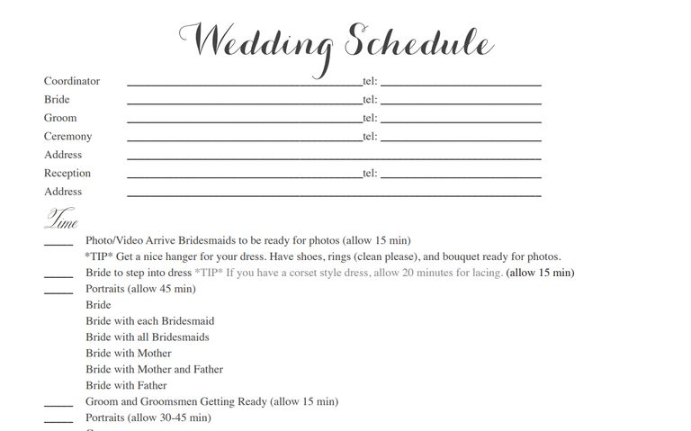 Free wedding itinerary templates and timelines a sample wedding itinerary template pronofoot35fo Images
