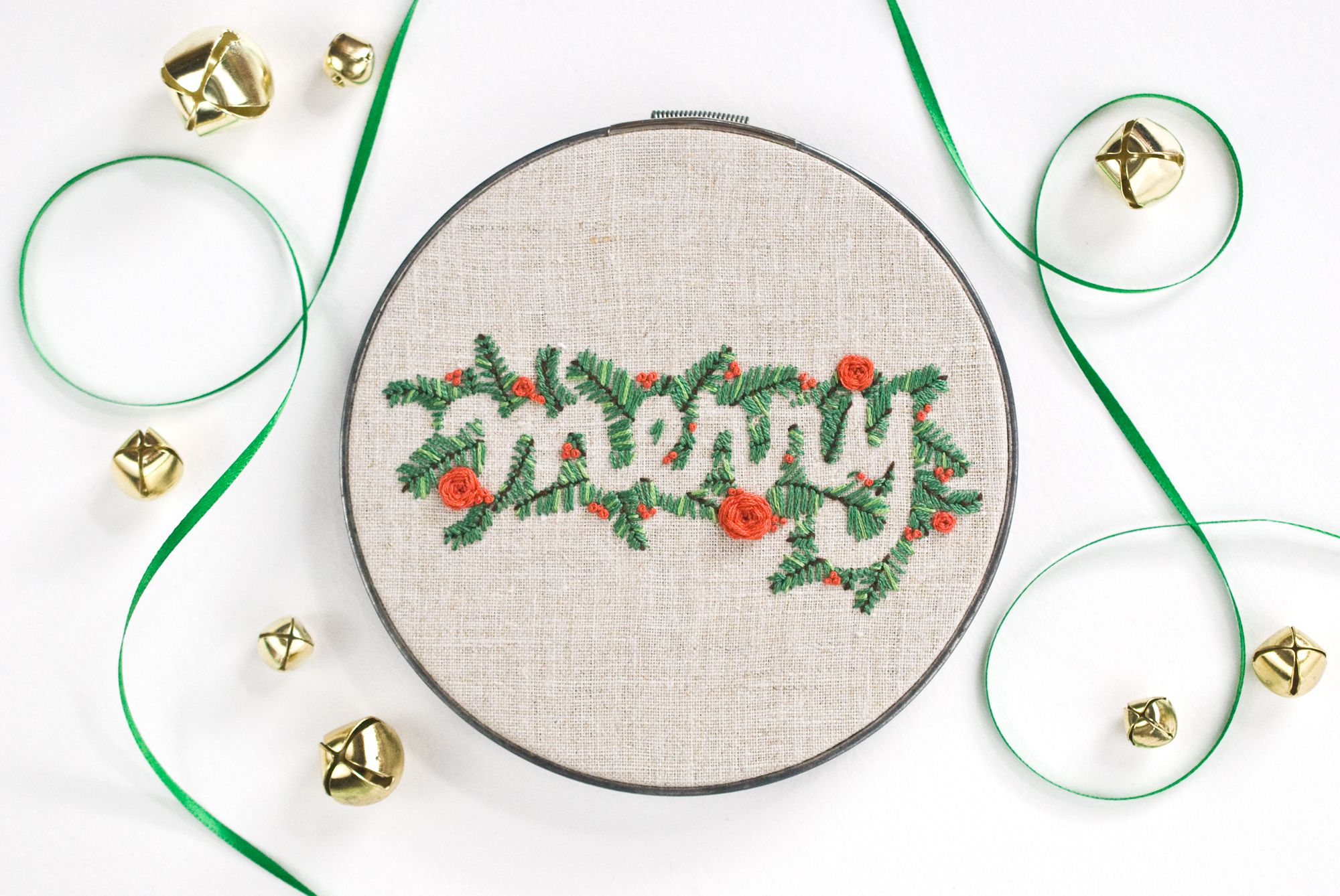 Merry word art embroidery pattern