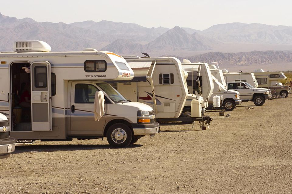 Motor homes in row