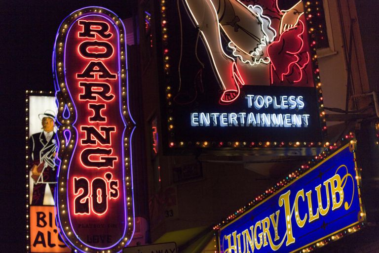 neon sign for topless entertainment