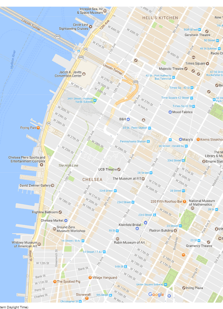 New York City Midtown West Neighborhood Map - Nyc map