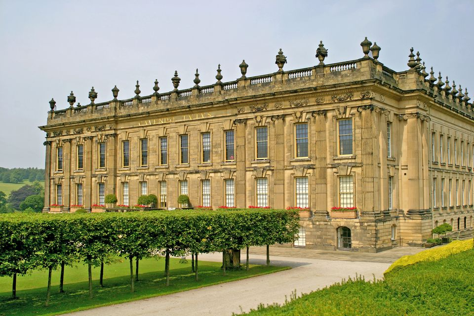 Chatsworth House in all its splendor near Bakewell, Derbyshire.