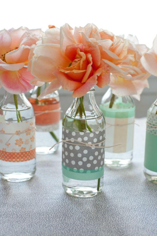 Washi Tape Flower Vases