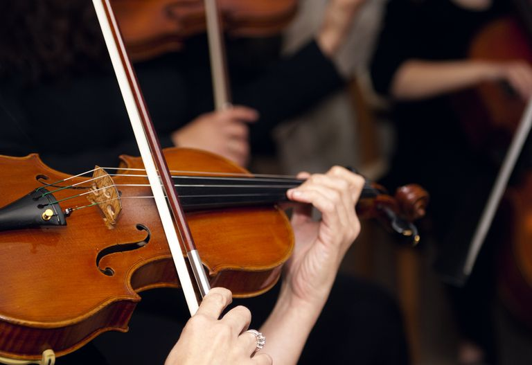 Close up of Violin in Chamber Orchestra