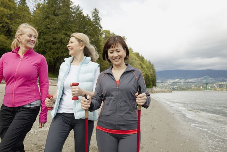 Three Women Walking on Shoreline