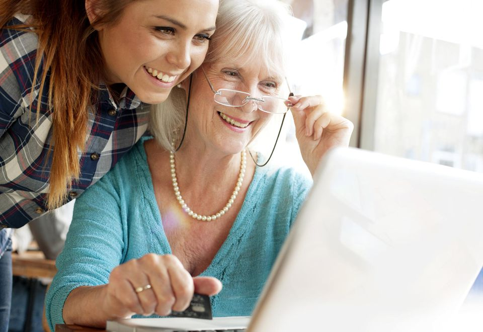 Granddaughter and Grandmother Use Skype
