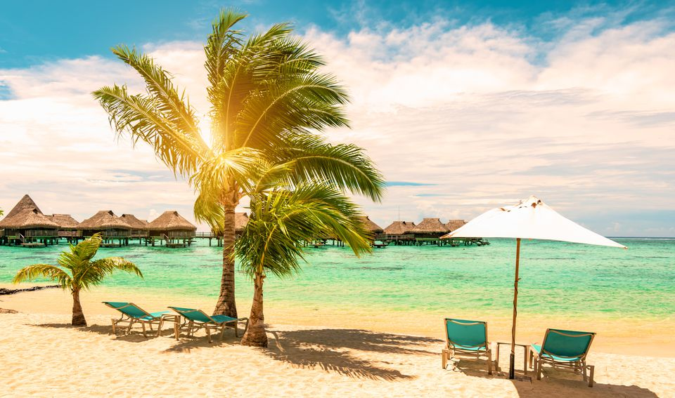 Tropical beach with beach chairs, umbrella and palm tree on a beautiful day. Travel, tourism and summer vacation concept.