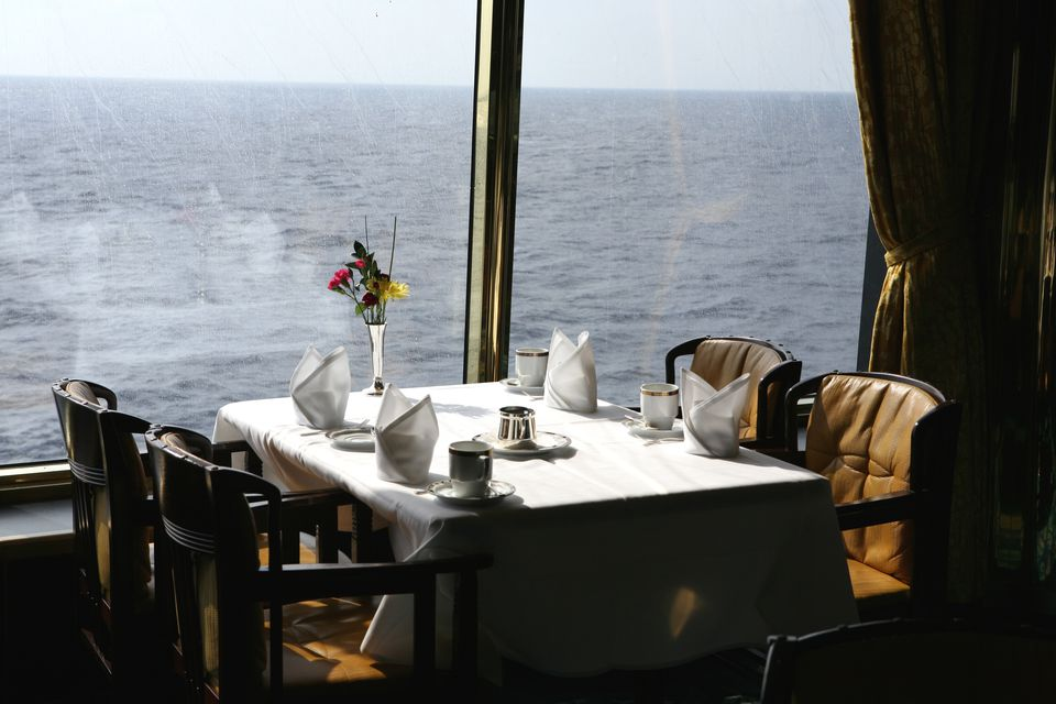 Dining room table in a cruise ship