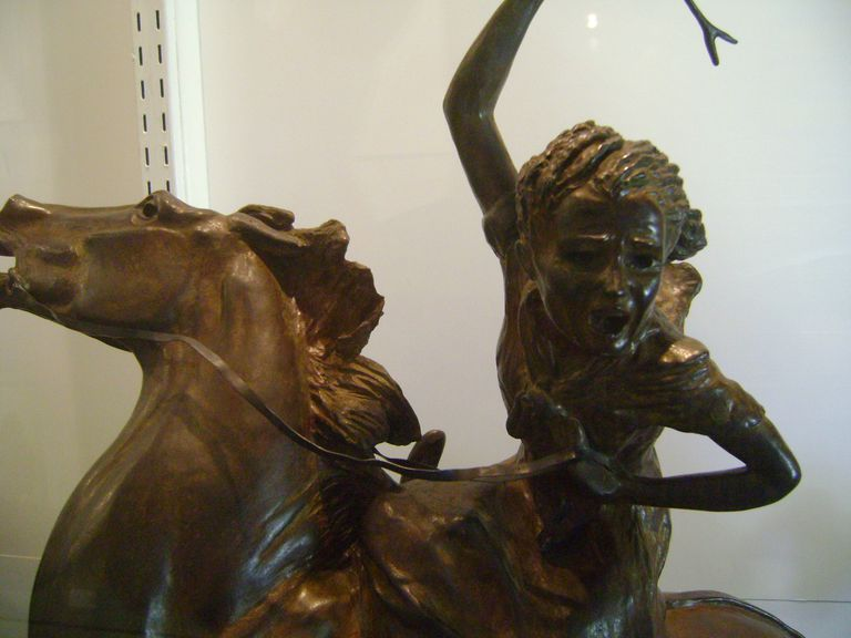 Close up of a Sybil Ludington statue at the Offner museum at Brookgreen Gardens; Myrtle Beach, SC.