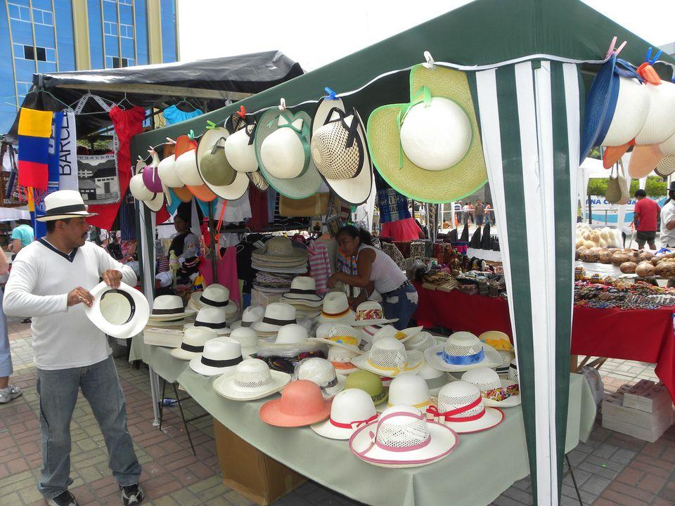 Panama Hat Vendor in Manta, Ecuador