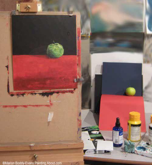 Studio Setup for Painting an Apple