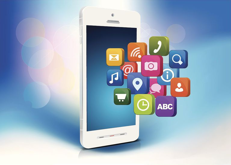 Illustration of Smartphone with apps icons
