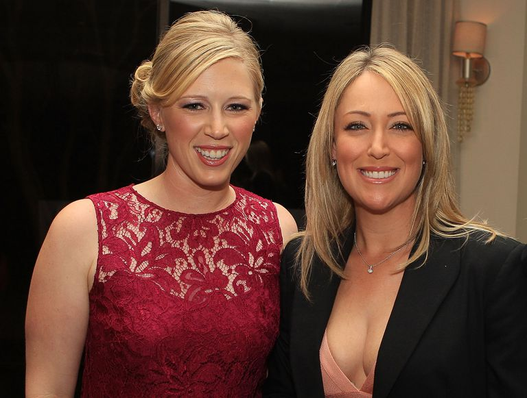 LPGA players Morgan Pressel (L) and Cristie Kerr arrive to the Morgan and Friends opening evening event at the St. Andrews Country Club on January 8, 2012