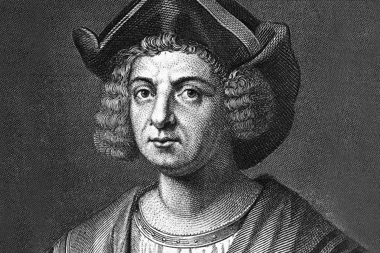 Christopher Columbus (1446?-1506), Spanish explorer (B&W)