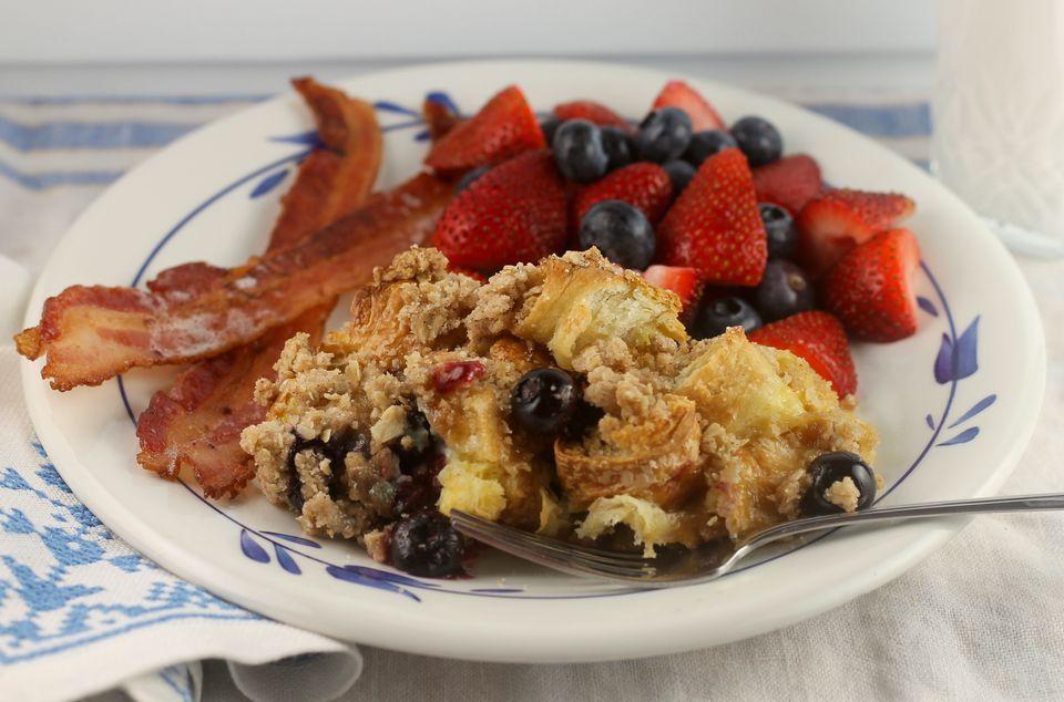 Blueberry Croissant French Toast Bake