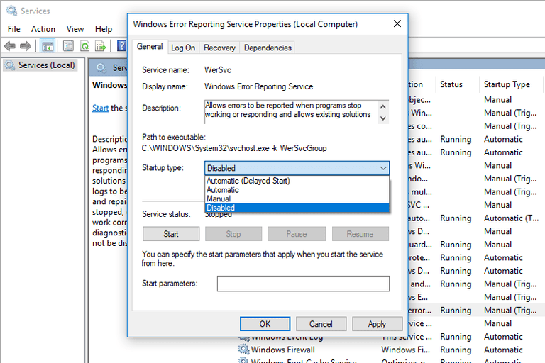 Screenshot of the Windows Error Reporting Service Properties window in Windows 10