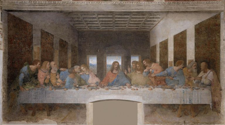 Last Supper by Leonardo da Vinci, mural painting