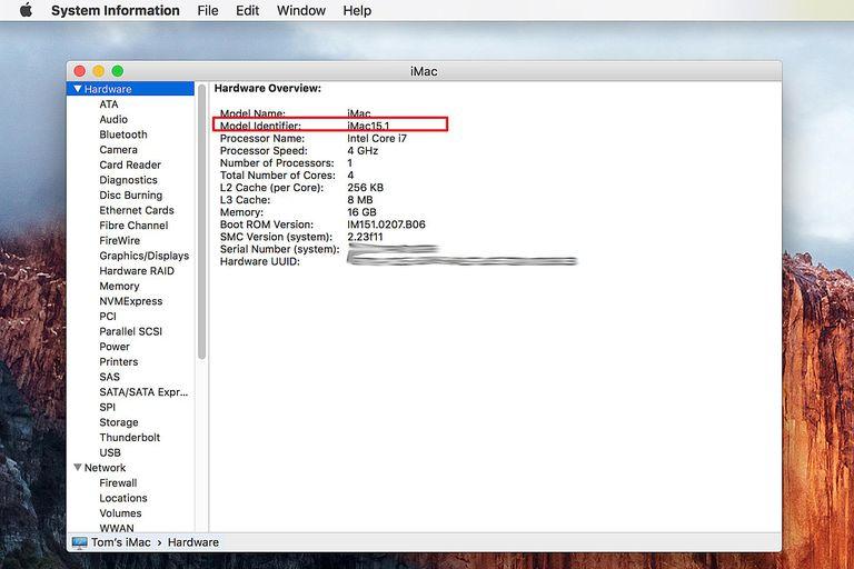 System Information showing the Mac Model Identifier