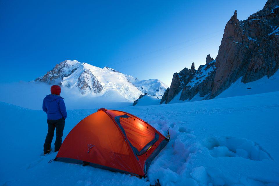 Europe, France, Haute Savoie, Rhone Alps, Chamonix Valley, camping beneath Mont Blanc