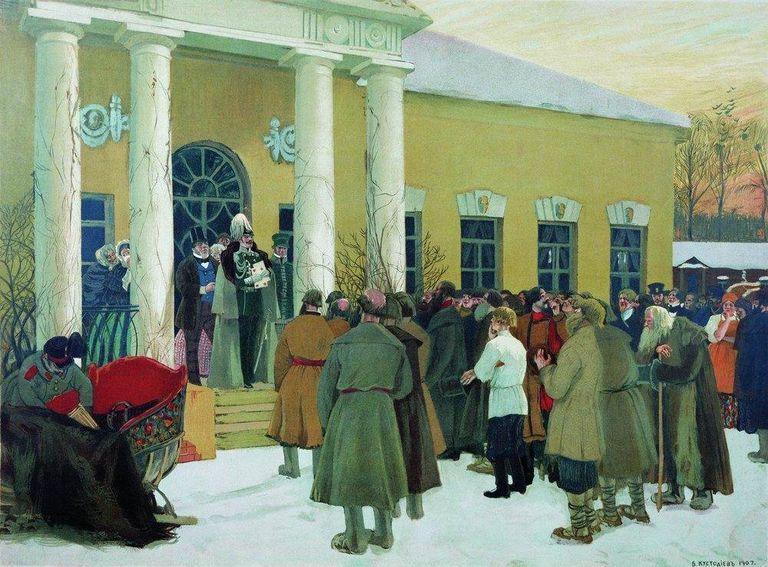 """Boris Kustodiev, """"Liberation of peasants"""" (1907)."""