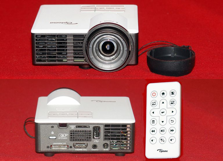 Optoma ML750ST LED/DLP Video Projector - Front/Rear Views With Remote