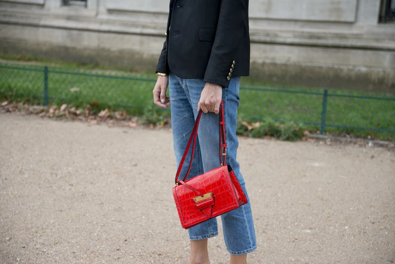 Woman wearing cropped jeans
