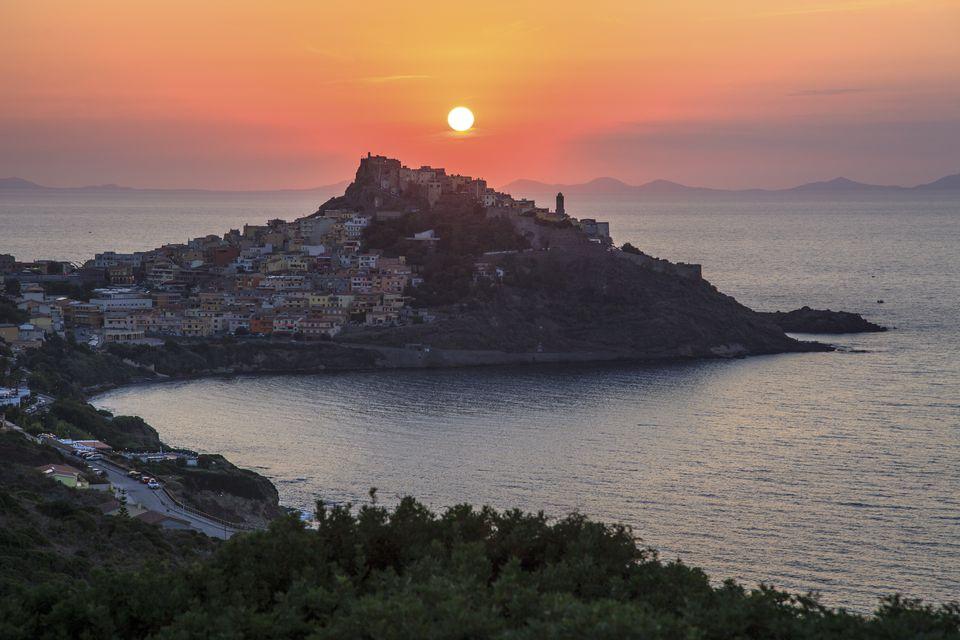 Italy, Sardinia, Sunset at Castelsardo