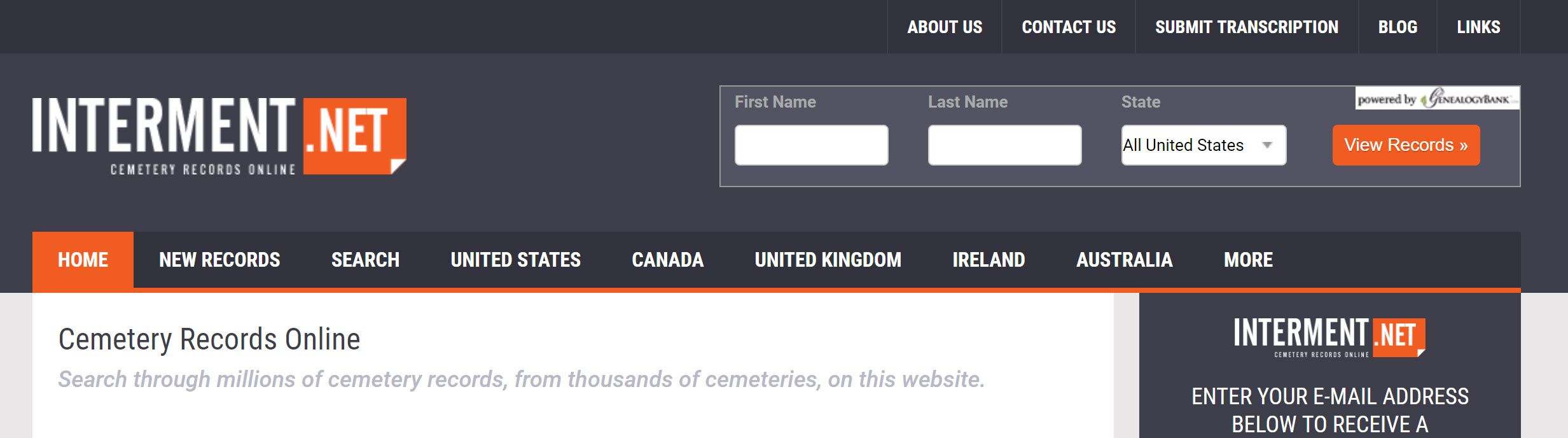 Screenshot from the Interment.net website.