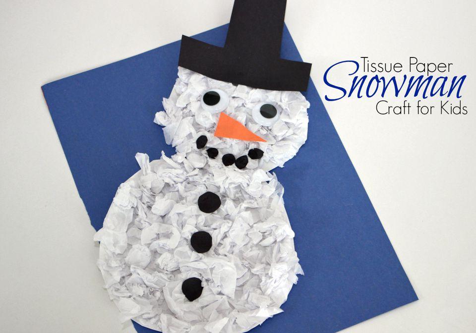 DIY: Tissue Paper Snowman Craft for Kids