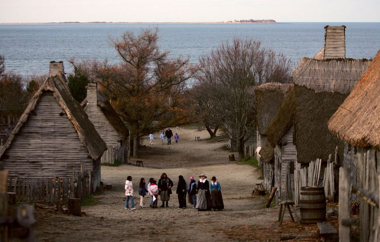 Photo of the recreated Plymouth colony of 1620