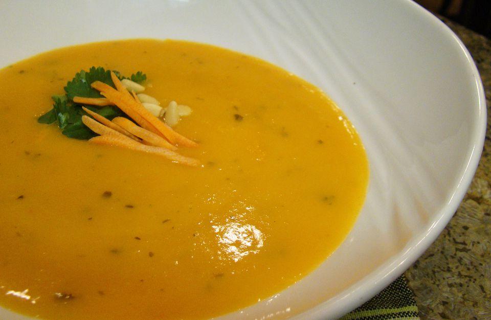 Homemade vegan carrot soup